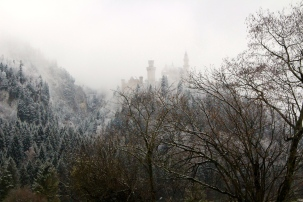 First glimpse of Neuschwanstein Castle through the mist
