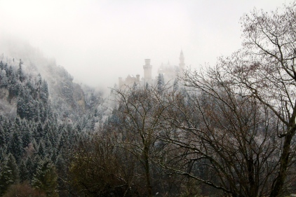 First glimpse of Neuschwanstein Castle through the mist