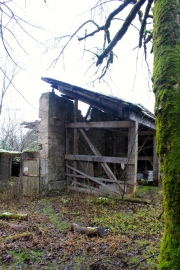 Around the back of derelict building...