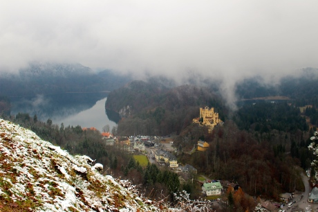 Hohenscwangau Castle and village from Neuschwanstein Castle