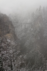 Marienbrucke from Neuschwanstein castle - hardly visible in the fog but gives a little idea of how high it was!