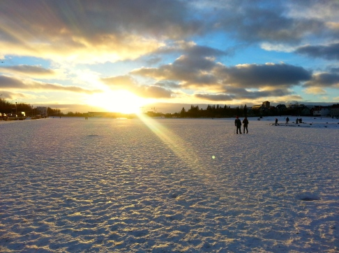 Walking across the frozen lake