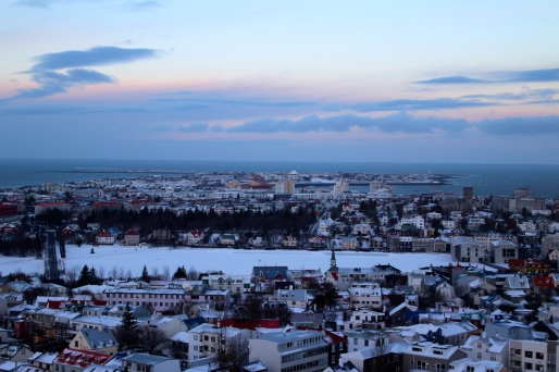 Reykjavik and frozen lake