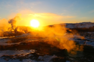Geysir Geothermal Field - sunset