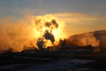 Geysir Geothermal Field - sunset not a huge explosion!