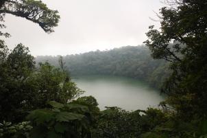 Crater lake at the top of Cerro Chato extinct volcano