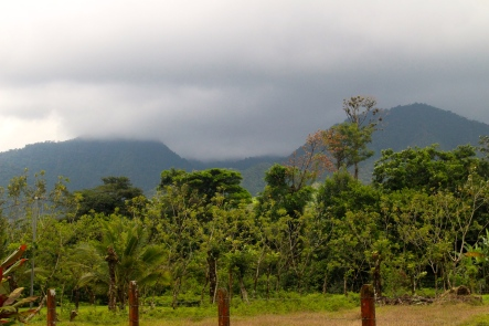 Volcano Arenal and Cerro Chato disappeared under cloud