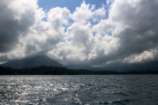 Volcano Arenal and the little one to the right is Cerro Chato (yes I am sure most of it is under cloud and you cannot really see how steep it was to climb!)