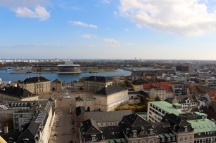 View of Opera House & Amalienborg Palace from roof of Frederik's Church