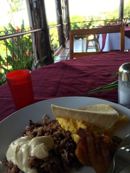 Breakfast - rice, beans and plantain again!