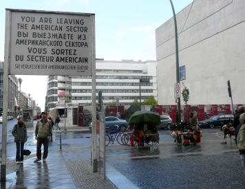 Leaving American sector sign and line of Berlin Wall