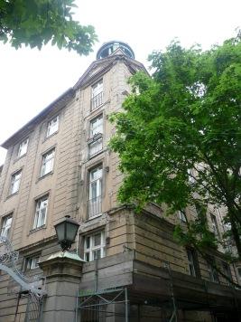 Buildings still with shrapnel scars