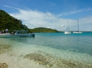 Out boat moored on Green Island for lunch