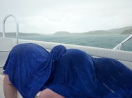 The weather turned quickly and were suddenly being bombarded by hailstones whilst travelling at 40mph on a speedboat