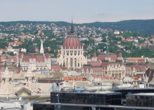 View from St Stephens Basilica of the Hungarian Parliament Building